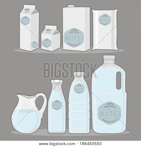 Vector illustration logo for set blue water in jug background.Jug pattern consisting of glass pitcher filled waters plastic package natural product.