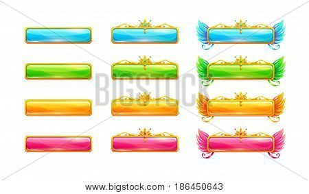 Colorful glossy banners for game or web design. Vector UI assets.