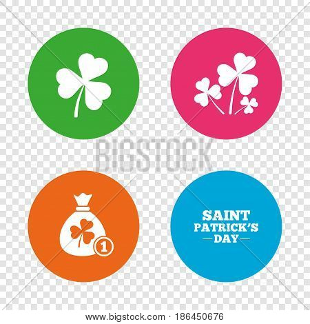 Saint Patrick day icons. Money bag with clover and coin sign. Trefoil shamrock clover. Symbol of good luck. Round buttons on transparent background. Vector
