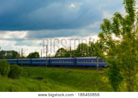 Railway Carriages. Tilt Shift.
