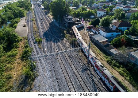 Aerial View Of The Fatal Train Derailment