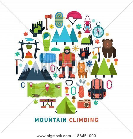Vector illustration on the theme of rock climbing, mountain Hiking, climbing. Extreme sports. The design elements are arranged in the shape of a circle