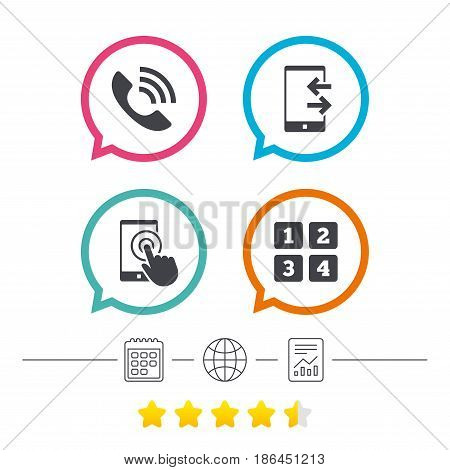 Phone icons. Touch screen smartphone sign. Call center support symbol. Cellphone keyboard symbol. Incoming and outcoming calls. Calendar, internet globe and report linear icons. Star vote ranking