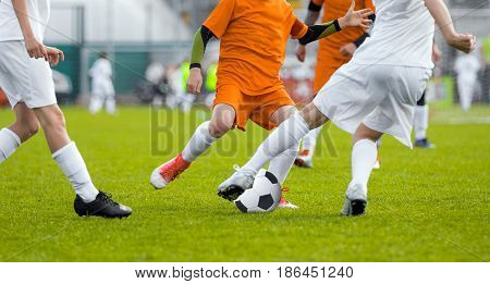 Football Soccer Match for Children. Boys Running and Kicking Football Soccer Ball. Kids Playing Soccer Game Tournament