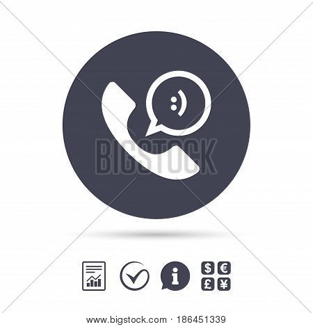 Phone sign icon. Support symbol. Call center. Speech bubble with smile. Report document, information and check tick icons. Currency exchange. Vector