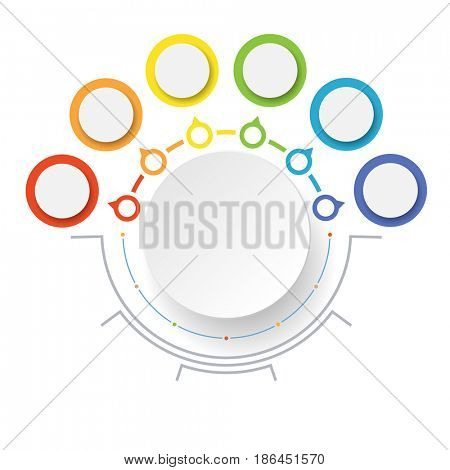 Abstract Circle Business options, Marketing. Concept Infographics icons for layout, diagram, annual report, web design. Illustration