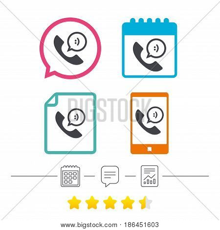 Phone sign icon. Support symbol. Call center. Speech bubble with smile. Calendar, chat speech bubble and report linear icons. Star vote ranking. Vector