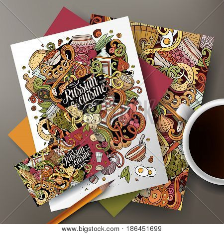 Cartoon cute colorful vector hand drawn doodles Russian food corporate identity set. Templates design of business card, flyers, posters, papers on the table