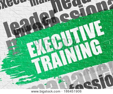 Education Service Concept: Executive Training - on White Brickwall with Word Cloud Around. Modern Illustration. Executive Training Modern Style Illustration on Green Grunge Paint Stripe.