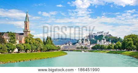 Panoramic View Of Salzburg Skyline With Festung Hohensalzburg And River Salzach, Salzburger Land, Au