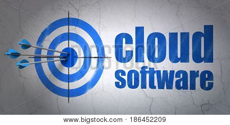 Success cloud technology concept: arrows hitting the center of target, Blue Cloud Software on wall background, 3D rendering