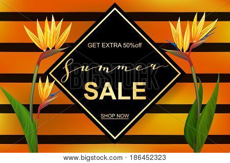 Summer sale banner with beautiful Strelitzia exotic flowers. A seasonal discount. Vector illustration EPS10