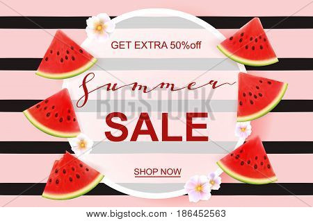 Summer sale banner design template. Seasonal discount advertisement with fresh watermelon pieces. Vector illustration