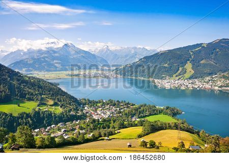 Beautiful Landscape With Alps And Zeller See In Zell Am See, Salzburger Land, Austria