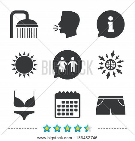 Swimming pool icons. Shower water drops and swimwear symbols. WC Toilet speech bubble sign. Trunks and women underwear. Information, go to web and calendar icons. Sun and loud speak symbol. Vector