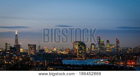 London skyline from Greenwich with Thames at twilight