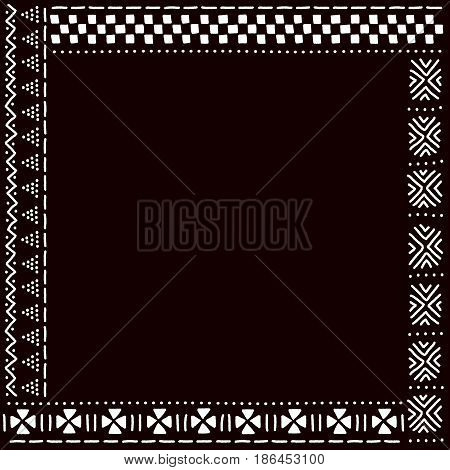 Black and white african mudcloth fabric pattern frame, vector background