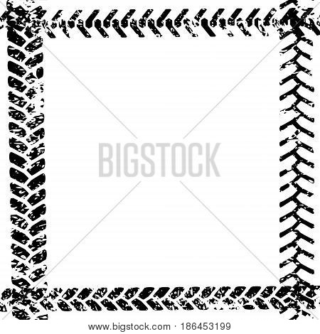 Black and white tire tread protector track on white grunge frame design, vector template