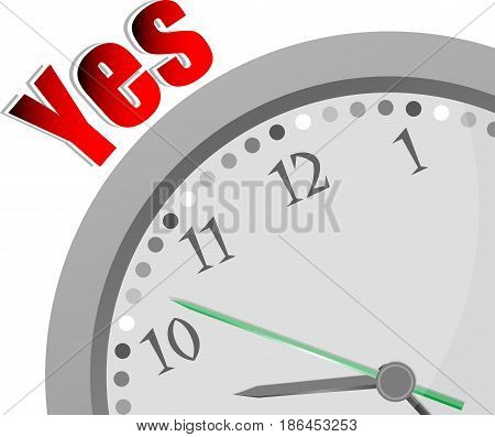 Text Yes. Education Concept . Color Word And Modern Clock On White