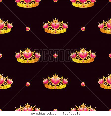 Seamless pattern with princess crown on dark background. Vector texture.