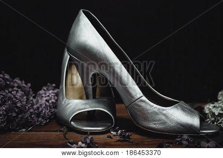 Beautiful silver wedding shoes high heel shoes