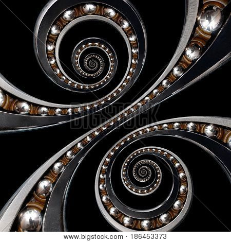 Fun incredible Industrial Ball Bearing. Double spiral effect technology black background. Funny abstract texture fractal background. Spiral fractal Droste effect. Perspective diagonal funny bearing