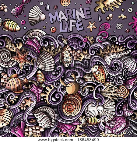 Cartoon hand-drawn doodles on the subject of Underwater life frame border. Colorful detailed, with lots of objects vector background
