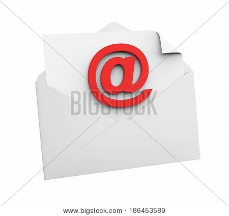 Email Sign and Envelope isolated on white background. 3D render