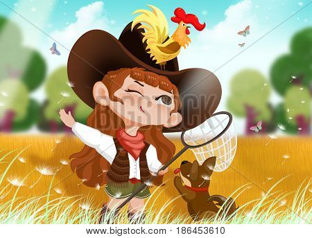 Girl, Dog and Big Rooster. Video Game's Digital CG Artwork, Concept Illustration, Realistic Cartoon Style Background