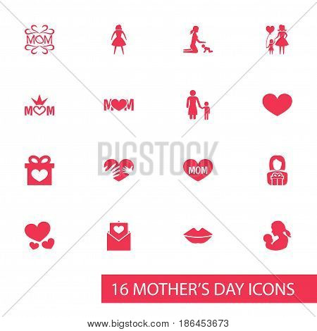 Mothers Day Icon Design Concept. Set Of 16 Such Elements As Playing, Mom And Text. Beautiful Symbols For Kiss, Mother And Baby.
