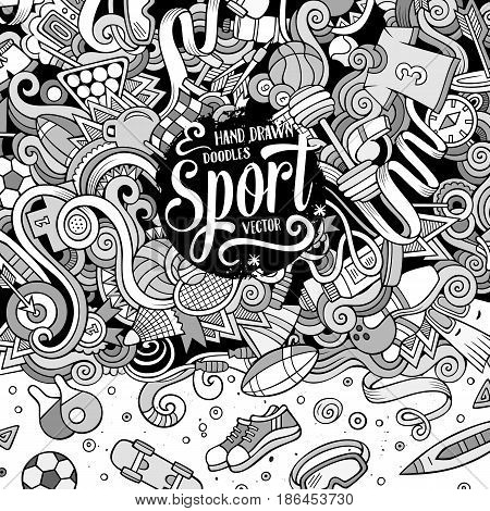 Cartoon cute doodles hand drawn Sport frame design. Line art detailed, with lots of objects background. Funny vector illustration. Vintage border with sports equipment items