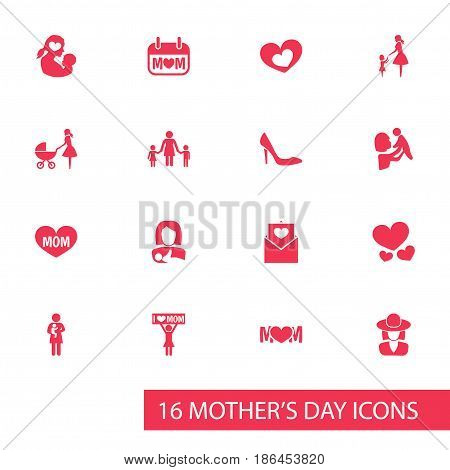 Mothers Day Icon Design Concept. Set Of 16 Such Elements As Shape, Kid And Letter. Beautiful Symbols For Mother, Stroller And Daughter.