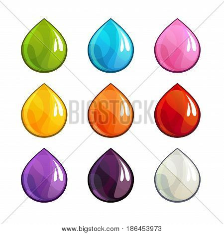 Cartoon colorful vector drops icons set. Vector isolated objects.