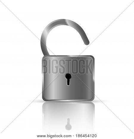 Realistic lock vector. Vector realistic closed padlock. Steel lock for protection privacy illustration