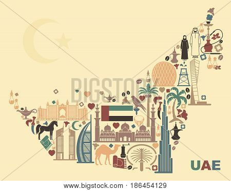 Symbols Of The United Arab Emirates in form the map