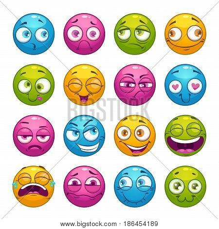 Colorful cartoon comic faces with different emotions. Vector cartoon stickers set