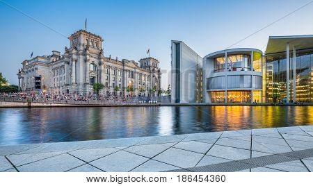 Government District Of Berlin With Famous Reichstag And Bundestag Buildings At Dusk, Germany