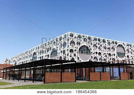 Odense, Denmark - April 9, 2017: Odense University building. University of Southern Denmark is a university and campus in Odense, Denmark built by CF Moller architects
