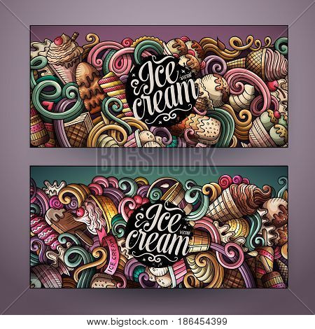 Cartoon cute colorful vector hand drawn doodles ice cream corporate identity. 2 horizontal banners design. Templates set