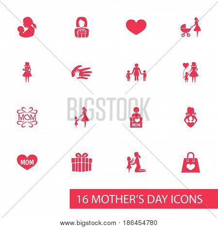 Mothers Day Icon Design Concept. Set Of 16 Such Elements As Gift, Baby And Package. Beautiful Symbols For Daughter, Playing And Gift.