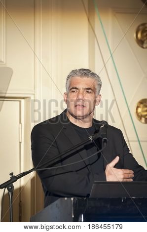 Israeli politician Yair Lapid giving an address to the Israeli businessmen at a conference in Tel Aviv. Israel, April 2014.