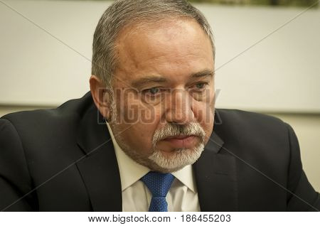 Avigdor Lieberman, Israeli politician, ex-Minister of Foreign affairs of Israel, the head of the Israel Our Home party, meeting with the members of Parliament of Ukraine. Jerusalem, Israel, April 2016