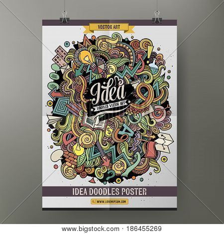 Cartoon colorful hand drawn doodles Idea poster template. Very detailed, with lots of objects illustration. Funny vector artwork. Corporate identity design