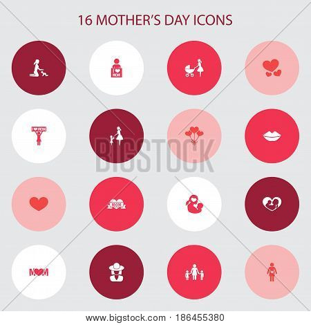 Mothers Day Icon Design Concept. Set Of 16 Such Elements As Soul, Playing And Placard. Beautiful Symbols For Headgear, Infant And Pregnancy.