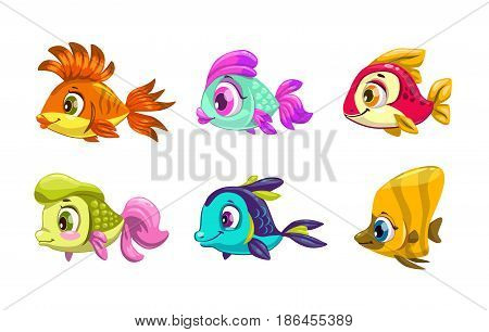Funny cartoon colorful fishes set. Vector icons, isolated on white.
