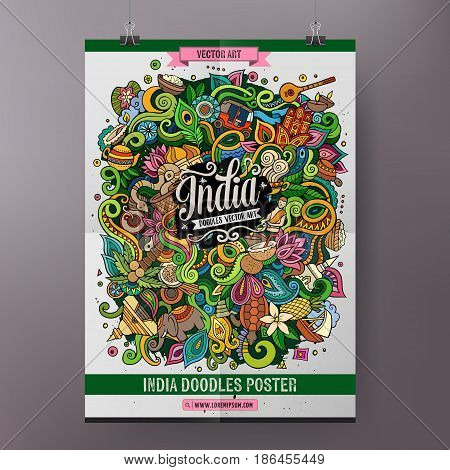 Cartoon colorful hand drawn doodles India poster template. Very detailed, with lots of objects illustration. Funny vector artwork. Corporate identity design