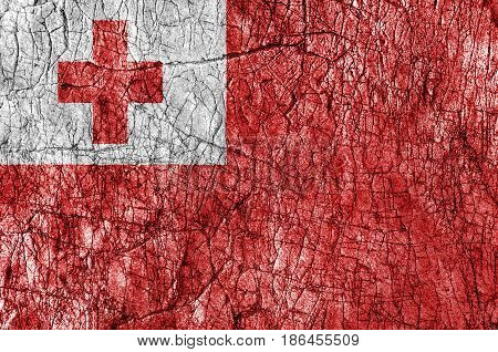 Grudge stone painted Tonga flag close up