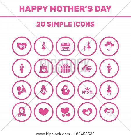 Mothers Day Icon Design Concept. Set Of 20 Such Elements As Newborn Baby, Lady And Text. Beautiful Symbols For Package, Bag And Love.