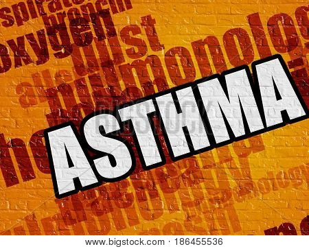 Modern healthcare concept: Asthma on Yellow Brickwall . Asthma - on the Wall with Word Cloud Around .