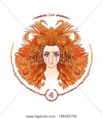 Zodiac sign. Hand drawn portrait of a beautiful woman. Vector illustration of Leo zodiac sign.